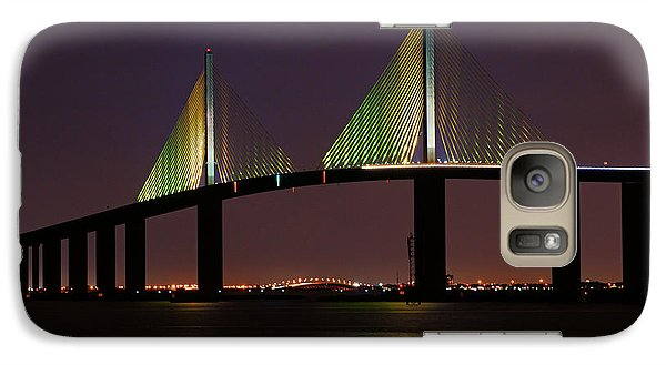Galaxy Case featuring the photograph Sunshine Skyway At Dusk by Daniel Woodrum