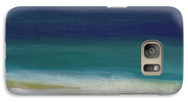 Surf And Sky- Abstract Beach Painting Galaxy Case by Linda Woods