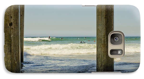 Galaxy Case featuring the photograph Surf Framed Under The Pier by MaryJane Armstrong