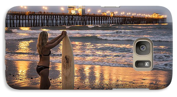 Galaxy Case featuring the photograph Surfer Girl At Oceanside Pier 1 by Lee Kirchhevel