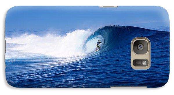 Surfer In The Sea, Tahiti, French Galaxy Case by Panoramic Images