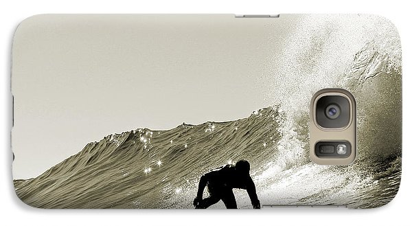 Galaxy Case featuring the photograph Surfer Sepia Silhouette by Paul Topp