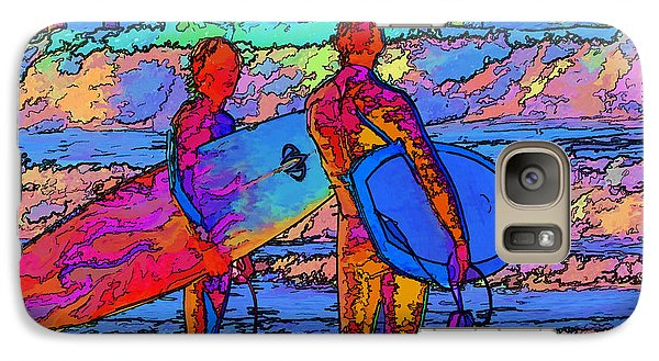 Galaxy Case featuring the photograph Surfers by Kathy Churchman