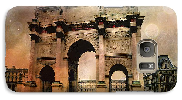 Louvre Museum Arc De Triomphe Louvre Arch Courtyard Sepia- Louvre Museum Arc Monument Galaxy S7 Case
