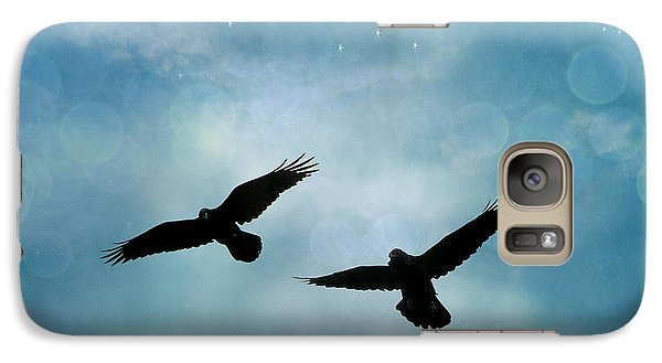 Surreal Ravens Crows Flying Blue Sky Stars Galaxy S7 Case by Kathy Fornal