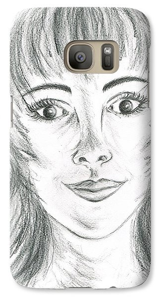 Galaxy Case featuring the drawing Portrait Stunning by Teresa White