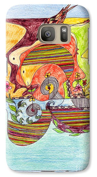 Galaxy Case featuring the drawing Sustainable Fish Pond by Mukta Gupta