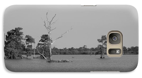 Galaxy Case featuring the photograph Swamp Cypress Trees Black And White by Joseph Baril