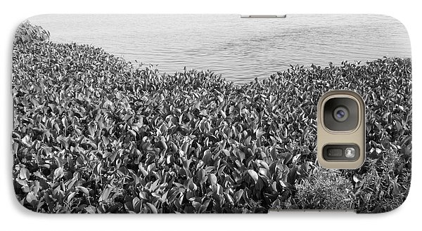 Galaxy Case featuring the photograph Swamp Hyacinths Water Lillies Black And White by Joseph Baril