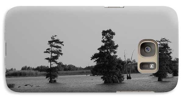 Galaxy Case featuring the photograph Swamp Tall Cypress Trees Black And White by Joseph Baril