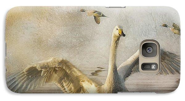 Galaxy Case featuring the photograph Swan At Sundown by Brian Tarr