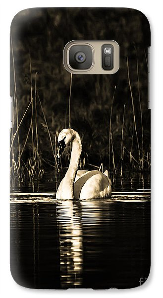 Galaxy Case featuring the photograph Swan B/w by Rose-Maries Pictures
