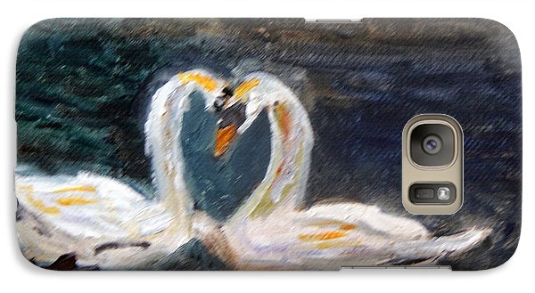 Galaxy Case featuring the painting Swan Lovers by Michael Helfen