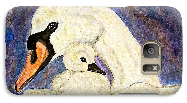 Galaxy Case featuring the painting Mother's Love Swan And Baby Painting by Ella Kaye Dickey
