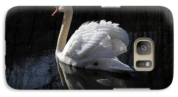 Galaxy Case featuring the photograph Swan With Reflection  by Eleanor Abramson