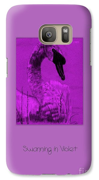 Galaxy Case featuring the photograph Swanning In Violet by Linda Prewer