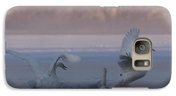 Galaxy Case featuring the photograph Swans Chasing by Patti Deters