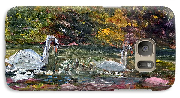 Galaxy Case featuring the painting Swans Family Outing by Michael Helfen
