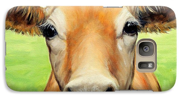 Cow Galaxy S7 Case - Sweet Jersey Cow In Green Grass by Dottie Dracos