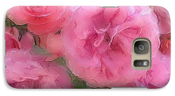Galaxy Case featuring the mixed media Sweet Pink Roses  by Gabriella Weninger - David