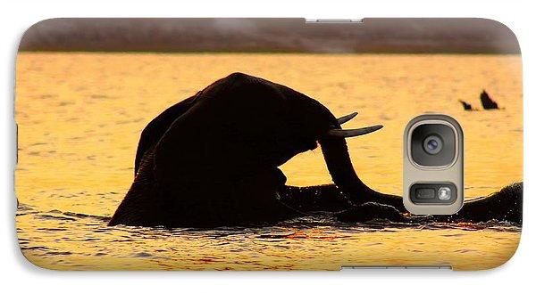 Galaxy Case featuring the photograph Swimming Kalahari Elephants by Amanda Stadther