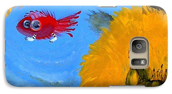 Galaxy Case featuring the painting Swimming Of A Yellow Cat by Marina Gnetetsky