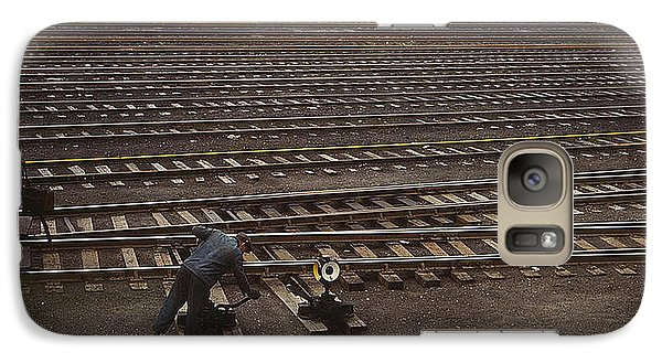 Galaxy Case featuring the photograph Switching The Rails Proviso R R Yard Chicago Il 1943 by Merton Allen