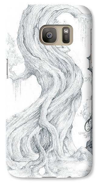 Galaxy Case featuring the drawing Sylvia And Her Lamp Drawing by Curtiss Shaffer