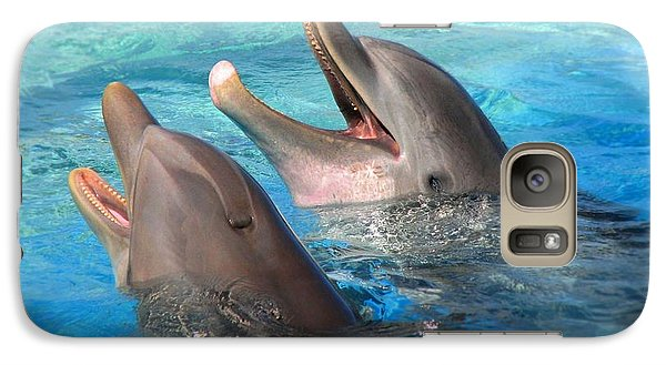 Galaxy Case featuring the photograph Talking Dolphins by Kristine Merc