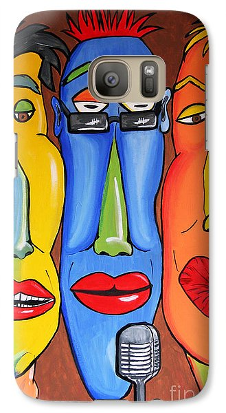 Galaxy Case featuring the painting Talking Heads by Vickie Scarlett-Fisher