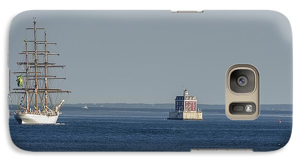 Galaxy Case featuring the photograph Tall Ship Cisne Branco Passes Ledge Light by Marianne Campolongo