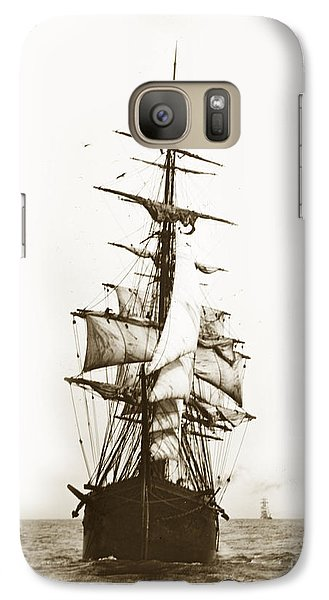 Galaxy Case featuring the photograph Tall Ship Sailing Out Of San Francisco California Circa 1900 by California Views Mr Pat Hathaway Archives