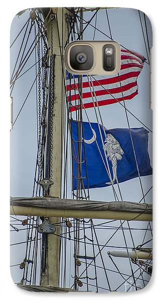 Galaxy Case featuring the photograph Tall Ships Flags by Dale Powell