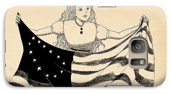 Galaxy Case featuring the drawing Tammy And The Flag by Reynold Jay