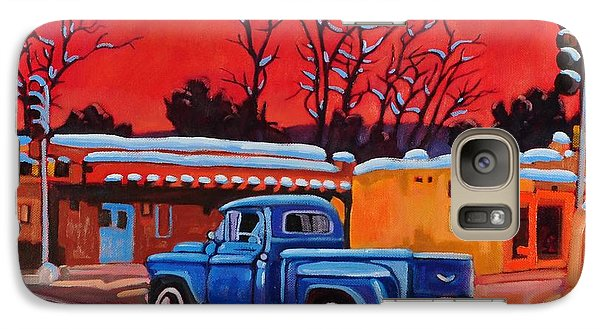 Galaxy Case featuring the painting Taos Blue Truck At Dusk by Art West
