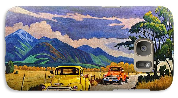 Galaxy Case featuring the painting Taos Joy Ride With Yellow And Orange Trucks by Art West