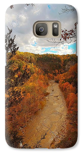 Galaxy Case featuring the painting Taughannock River Canyon In Colorful Fall Ithaca New York IIi by Paul Ge