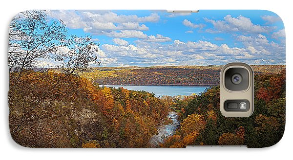 Galaxy Case featuring the painting Taughannock River Canyon In Colorful Fall Ithaca New York Iv by Paul Ge