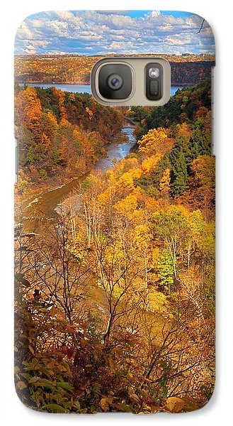 Galaxy Case featuring the photograph Taughannock River Canyon In Colorful Fall Ithaca New York by Paul Ge