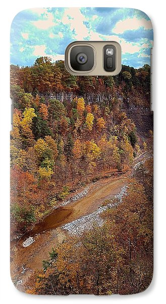 Galaxy Case featuring the painting Taughannock River Canyon In Colorful Fall Ithaca New York V by Paul Ge