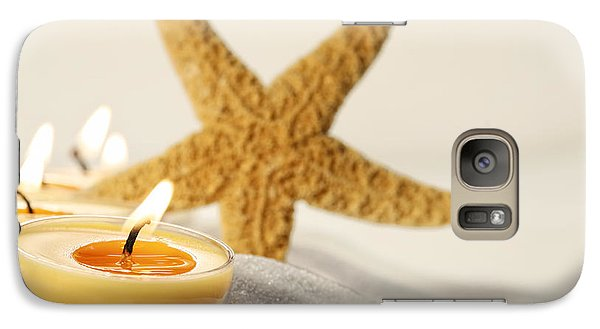 Galaxy Case featuring the photograph Tea Light Candles In Sand With Star Fish by Sandra Cunningham