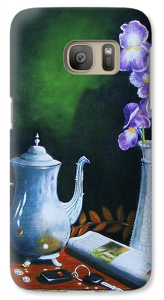 Galaxy Case featuring the painting Tea Pot With Iris by Gene Gregory