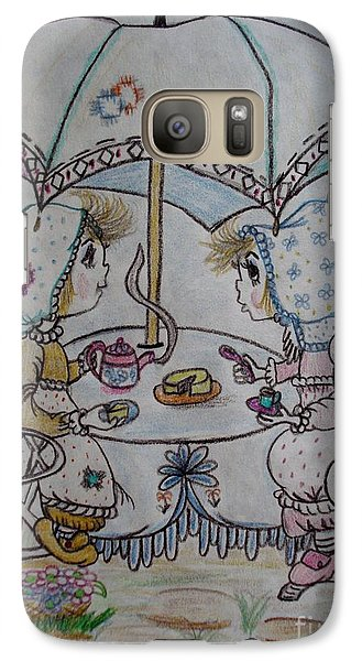 Galaxy Case featuring the drawing Tea Time by Lori  Lovetere