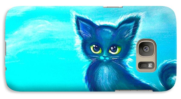 Galaxy Case featuring the painting Teal Meadow by Agata Lindquist