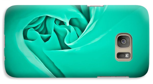 Galaxy Case featuring the photograph Teal Rose-duvet Cover by  Onyonet  Photo Studios