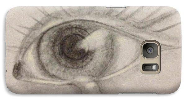Galaxy Case featuring the drawing Tear by Bozena Zajaczkowska