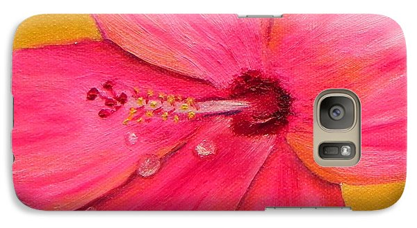 Galaxy Case featuring the painting Teardrops - Pink Hibiscus Flower by Shelia Kempf