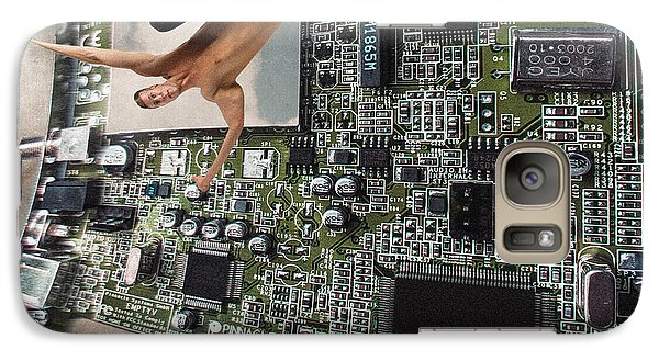 Galaxy Case featuring the photograph Circuit Board Electronic Art Technobat Abstract by Ginette Callaway