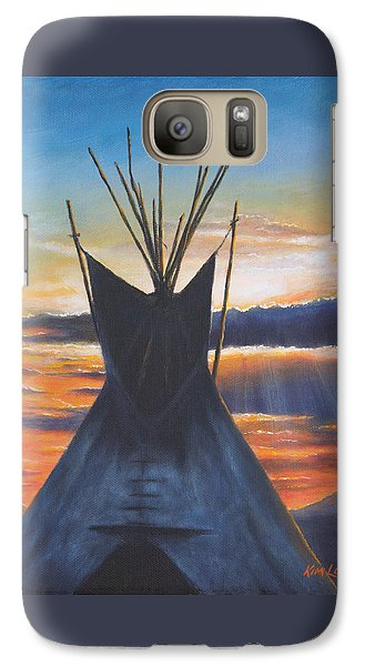 Galaxy Case featuring the painting Teepee At Sunset Part 1 by Kim Lockman