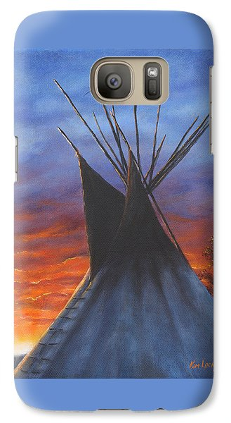 Galaxy Case featuring the painting Teepee At Sunset Part 2 by Kim Lockman